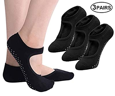 Yoga Socks Non Slip for Women, Ladies Girls Non Skid Socks With Grips Pilates Ballet Barre Dance Socks(3/4/5/6 Pairs)