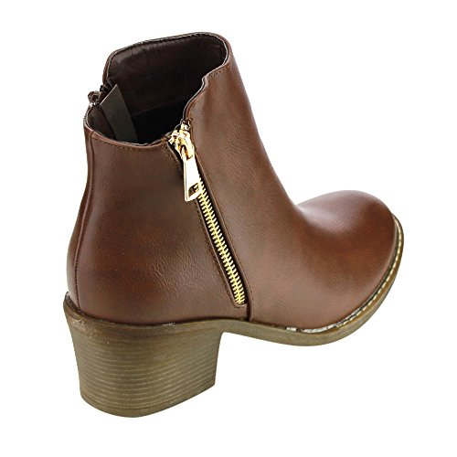 Brown Leather Booties Faux Ankle Pama Heels 02 Women's Reneeze Blocked Pqcf6