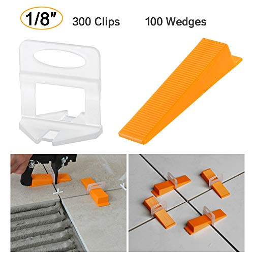 - Tile Leveling System DIY Tiles Leveler Spacers 1/8 inch 300pcs Leveling Spacer Clips Plus 100pcs Reusable Wedges (1/8
