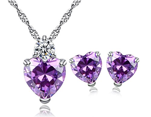 - 5.2 Ct Simulated Purple Gemstone Heart Amethyst with Simulant Diamond Accent - Earrings Pendant Necklace Jewelry Set -Great Valentine's Christmas Birthday Anniversary Mother's Day Wedding Gift