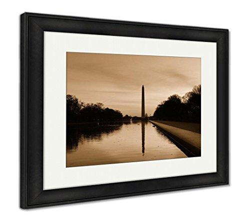 Ashley Framed Prints Washington D C Sunrise Lincoln Memorial Silhouettes Capitol, Wall Art Home Decoration, Sepia, 30x35 (Frame Size), Black Frame, AG5513479