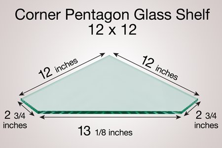 Corner Pentagon Glass Shelf 12 X 12|Gorgeous Upgrade To Any Room|The Sleek ''Pentagon'' Shape|Reminiscent Of A Diamond|can Transform Any Corner Into Additional Storage And Display Space
