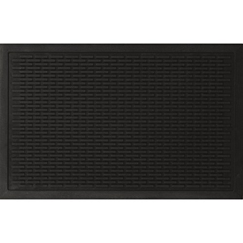 "Ottomanson Rubber Doormat Entrance Rug Indoor/Outdoor Door Shoe Scraper Entryway,Garage and Laundry Room Floor Mat, Weather-Resistant, 24"" x 36"", Charcoal"
