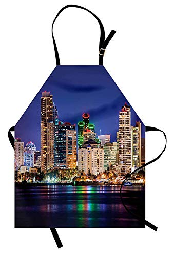 USA Apron, Colorful Skyline of San Diego at Night North San Diego Bay Boats Architecture Urban, Unisex Kitchen Bib Apron with Adjustable Neck for Cooking Baking Gardening, Multicolor