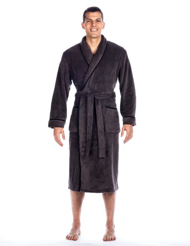 - Noble Mount Mens Premium Coral Fleece Plush Spa/Bath Robe - Dark Grey - 2XL/3XL