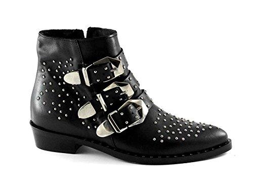 Divine Follie 3C-B Socket Black Woman Studs Buckles Zip Leather Texan Nero agtUI