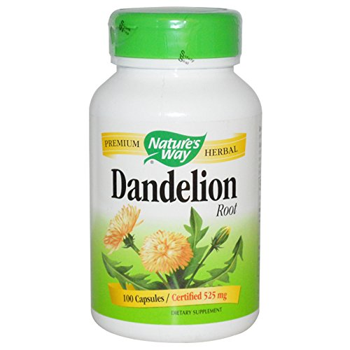 Dandelion Root Capsules (Nature's Way Dandelion Root; 525 mg Dandelion Root per serving; Non-GMO Project Verified; Gluten Free;Vegetarian;180 Vegetarian Capsules)