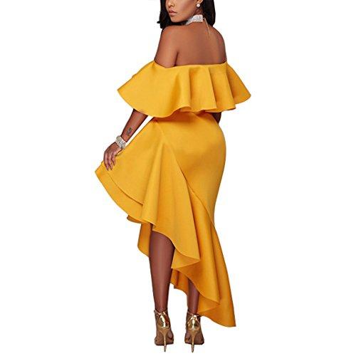 Midi Blingdeals Yellow Bodycon Off Women's Ruffle Dress Shoulder The rHaYOqr