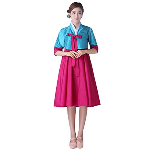 Korean Dance Costume (Lemail wig womens Korean Ethnic 1/2 Sleeve Hanbok Dance Performances Ceremonial Costumes (BLUE+ROSE RED-M))