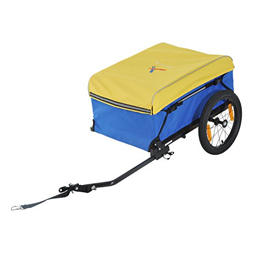 Aosom Two Wheel Enclosed Bike Cargo Trailer with Hitch Blue/Yellow