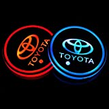 Wall Stickz Auto Sport 2PCS LED Cup Holder Mat Pad Coaster with USB Rechargeable Interior Decoration Light Fit To-yot Accessories