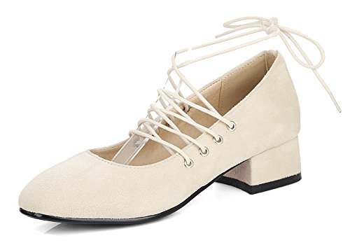 Aisun Womens Fashion Low Cut Faux Suede Dressy Square Toe Self Tie Ankle Wrap Block Low Heel Pumps Shoes Beige ViFy6