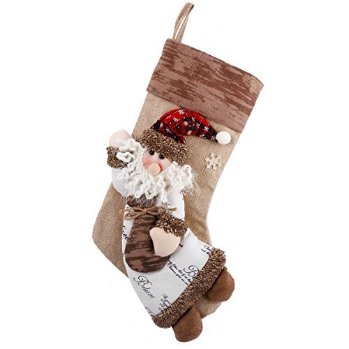 (12-Days Deal Classic Christmas Stockings Burlap 18