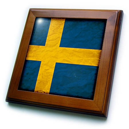 Swedish Flag Framed (3dRose Sven Herkenrath Flags - Swedish Flag Old Look Trendy Work - 8x8 Framed Tile (ft_255830_1))