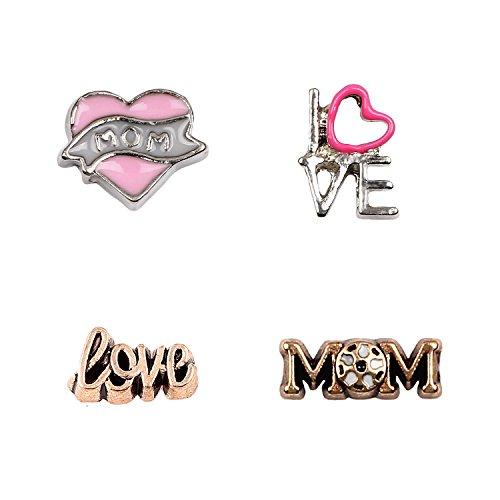 Miraclekoo Mothers Day Floating Charm Pack- Mom Heart,Cursive Word Love,I love U and MoM,set of 4