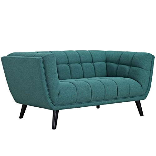 Modway Bestow Upholstered Fabric Button-Tufted Loveseat In Teal ()