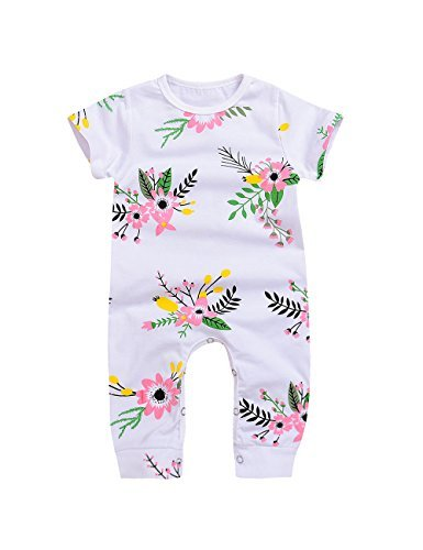 Baby Girl Pink Flower Print Shortsleeve Spring One Piece Romper (0-6M(Tag70), White)