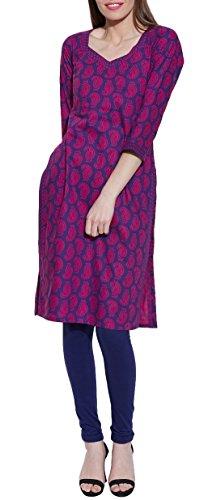 Long Sleeve V-neck Purple Wine Ikat Print Cotton Dress – Unique Women's Fashions