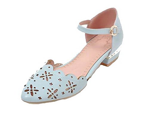 VogueZone009 Women Buckle Pu Closed-Toe Low-Heels Solid Sandals, CCALP014529 Blue