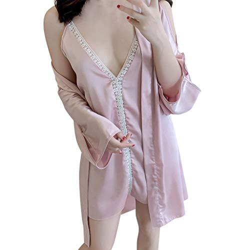 FONMA Women Pajamas Sexy Underwear V-Collar Robe Lingerie Sling Nightgown Pink