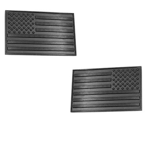 USA American 3D Metal Flag x2 emblem for Cars Trucks (Black)