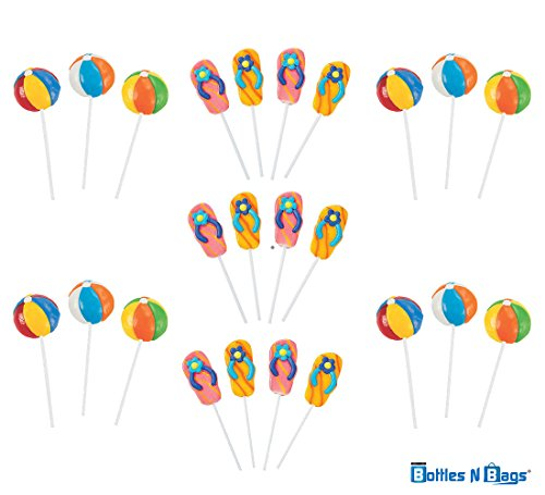 24 Candy Lollipops - 12 Beach Ball Suckers and 12 Flip Flop Swirl Pops - Perfect for Pool Parties and Summer Vacation by Bottles N Bags