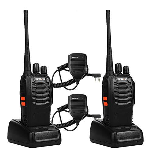 Set Way 2 Speaker (Retevis H-777 Walkie Talkies UHF Radio 16CH Single Band Flashlight 2 Way Radio Handheld Ham Radio Transceiver (2 Pack) with Speaker Mic (2 Pack))