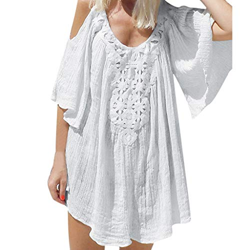 TWGONE Lantern Sleeve Dresses for Women Summer Holiday Cold Shoulder Batwing Half Sleeved ()
