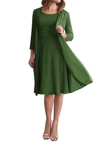 Mère De La Robe Formelle De Robe De Mariée En Mousseline De Soie Veste Courte Taille Plus 2 Pcs Vert