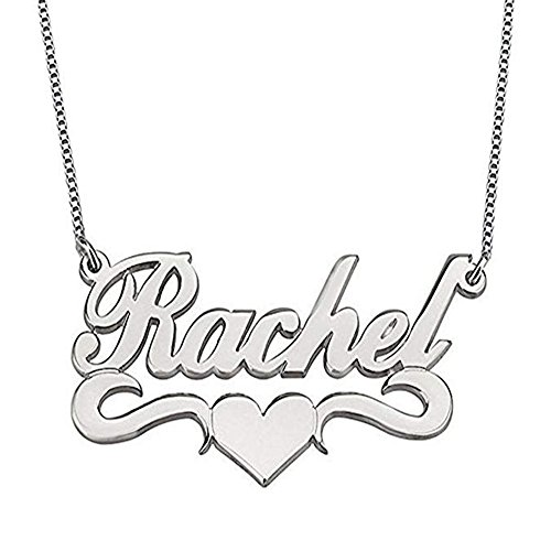 - 925 Sterling Silver Personalized Name Necklace with Heart - Custom Necklace Pendants with Any Name (Silver)