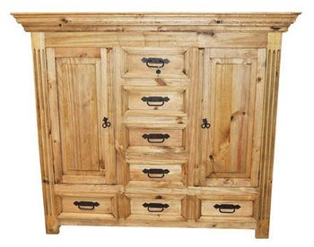 Rustic Dresser with Hidden Lockable Gun Chest on Top Safe