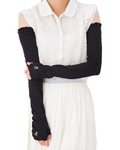 綿麻混 アームカバー 60cm丈 花と蝶ワンポイントUVチェックプリント UV手袋 裏メッシュ UV対策 レディース ロング丈