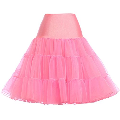 (GRACE KARIN Women's High Waist Pink Costume Petticoat Skirt (L,Pink))