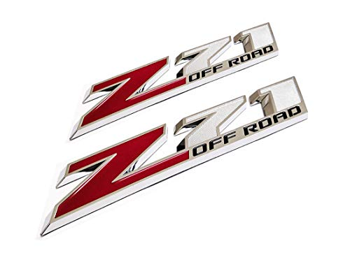 2Pcs 10.3 Z71 Emblem Badges for GM Chevy Silverado Colorado GMC Sierra Tahoe Suburban Matte Black+Red