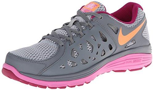 Nike Womens Dual Fusion Run 2 Running Shoe Black Armory Slate Pink Foil Metallic Silver