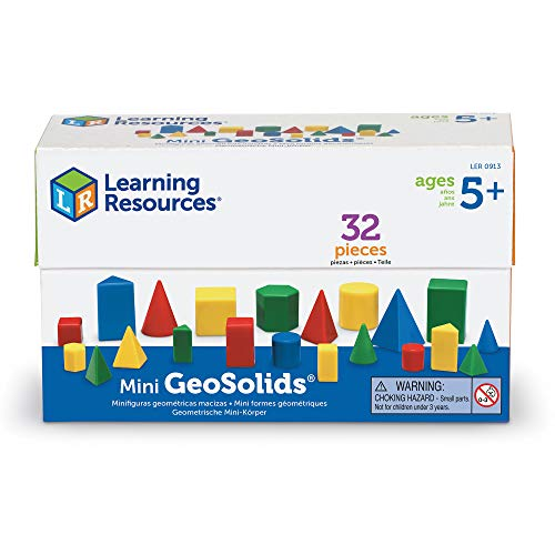 Learning Resources Mini GeoSolids, Colorful Plastic Geometric Shapes, Teacher Accessories, 32 Pieces, Grades K+, Ages 5+