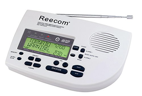 Unique 185 Hours Back-up Battery Life Time (Standby), Reecom R-1650D SAME Weather Radio with AM/FM (Light Grey), 24 Siren Volume, EOM Detection, Display Event Message and Effective Time At a Glance