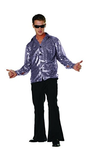 Gray Plus Size Werewolf Costumes (OvedcRay 1970S 70'S Retro Disco Fever Sequin Shirt Adult Costume Swinger Gold Purple Red)