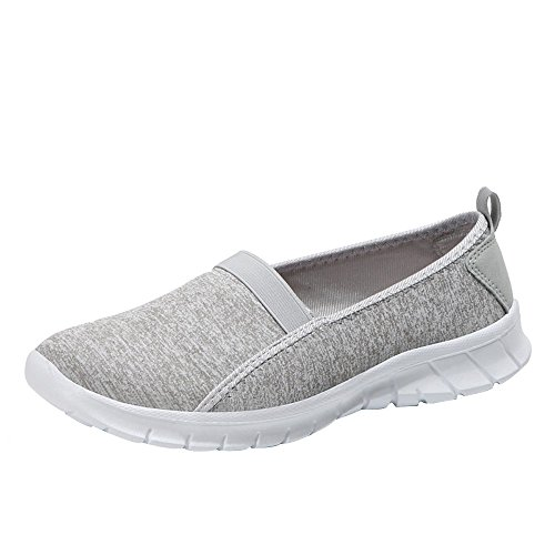 Eleganti Donne Morbida Theshy Scarpe on Slip Sportive Moda Slip Pigri Donna Comode In Pelle Traspirante Casual Mocassini Loafers Grigio Shoes On Suola SwqFgZq5x