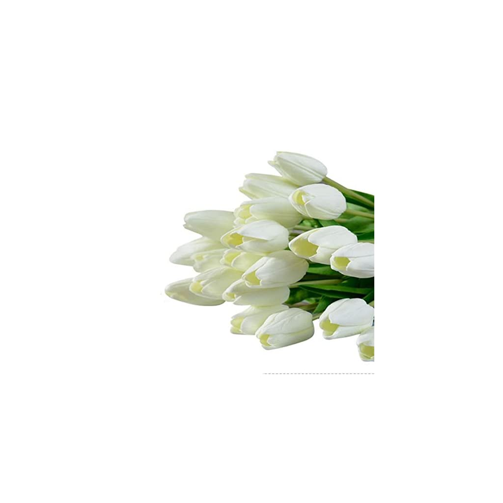 Supla-Single-Stem-20-heads-Artificial-Tulips-Real-Touch-PU-Tulips-Flowers-Arrangement-Bouquet-Home-Room-Office-Centerpiece-Party-Wedding-Decor-White