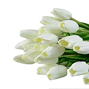 Supla Single Stem 20 Heads Artificial Tulips Real Touch PU Tulips Flowers Arrangement Bouquet Home Room Office Centerpiece Party Wedding Decor White 38