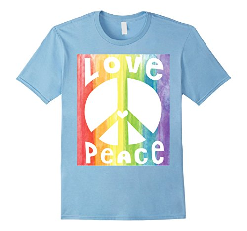 Mens PEACE SIGN LOVE T Shirt 60s 70s Tie Die Hippie Costume Shirt Large Baby Blue - Mens 60s Fashion