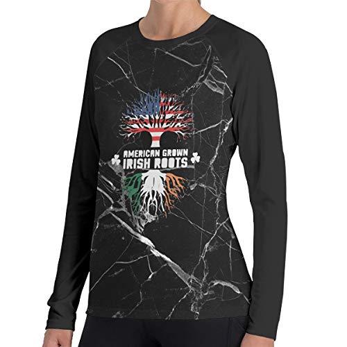 (KK44OI-4 American Irish Roots Long-Sleeved T-Shirt, Crew Neck 100% Polyester Underscrub Tee for)