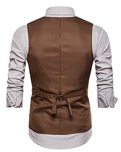 Mariage Jolime Homme Bouton Mode Sans Fit Slim Manches Kaki Décontractée Costume Gilet 2 Veste 7ZEZUq
