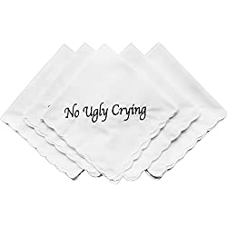 Perfect Bridesmaid Gift No Ugly Crying Wedding Handkerchief Embroidered Set of 8 Wedding Favors(Black)