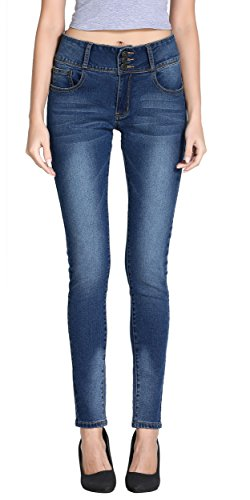 Women's Juniors Classic Mid Thigh Vintage Super Stretchy Fit Skinny Jeans Pencil Pants (Low Rise Mid Rise Jeans)
