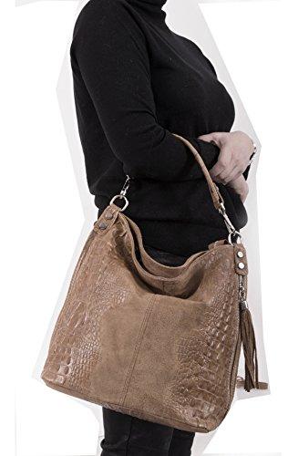 croco cuero de bolso bolso Cognac Shopper mujer hombro Italy Mod de 2107 wz8nFWn