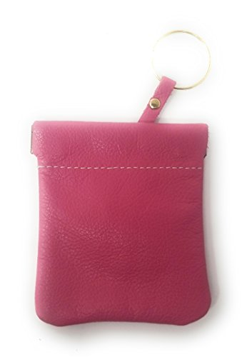 Classic Leather Squeeze Coin Purse change Holder For Men, Pouch size 3.5 in X 3.25 in. high By Nabobb (Pink W Key Ring)