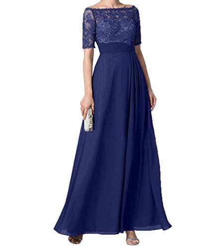 Kleider Brautmutterkleider Dunkel Partykleider Damen mit Langes Blau Langarm Festlichkleider Spitze Jugendweihe Royal Charmant Abendkleider tqT88P