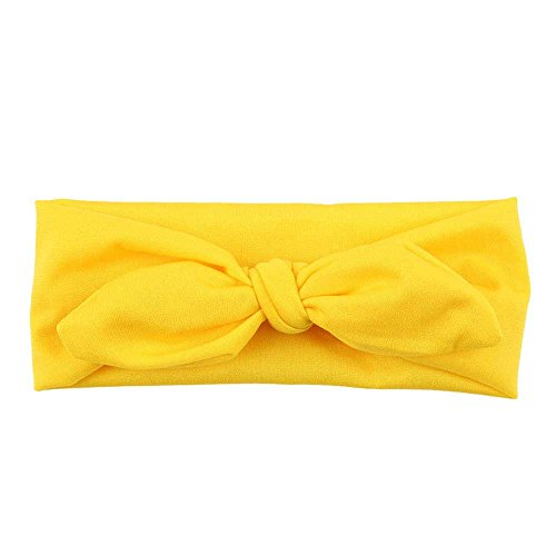 Headbands for Women, Yoga Elastic Bow Hairband Turban Knotted Rabbit Hair Band Hair Accessories (Yellow)